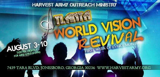 Atlanta, World Vision Revival, atlanta hub, harvest army, world vision day